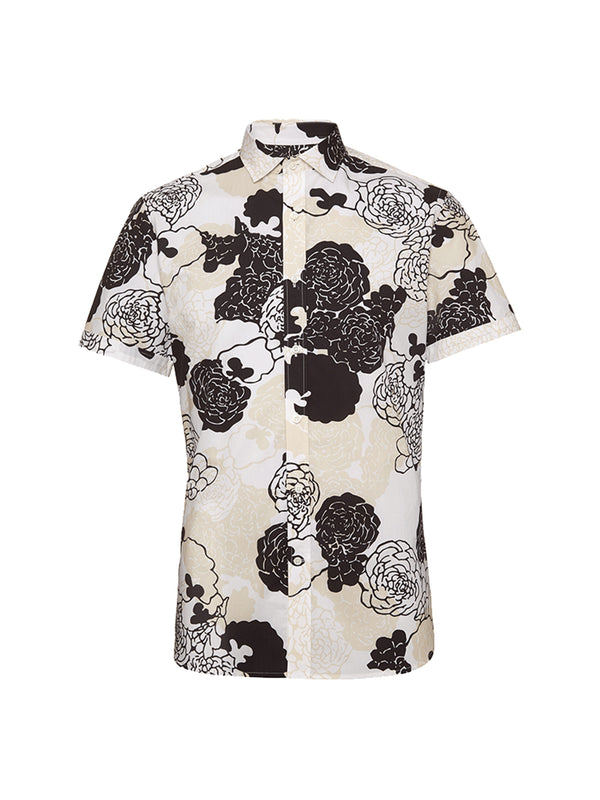 Black and white patterned short sleeve shirt