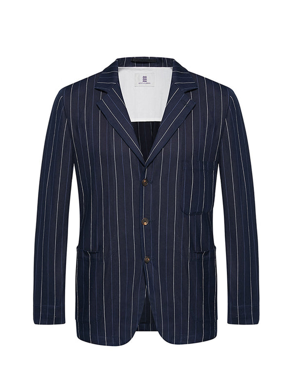 Striped Multi-Pocket Blazer Jacket