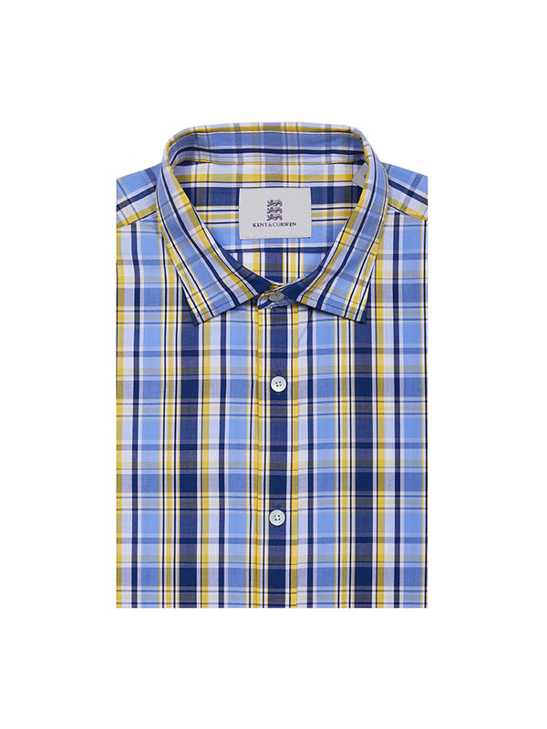 Blue and yellow plaid shirt