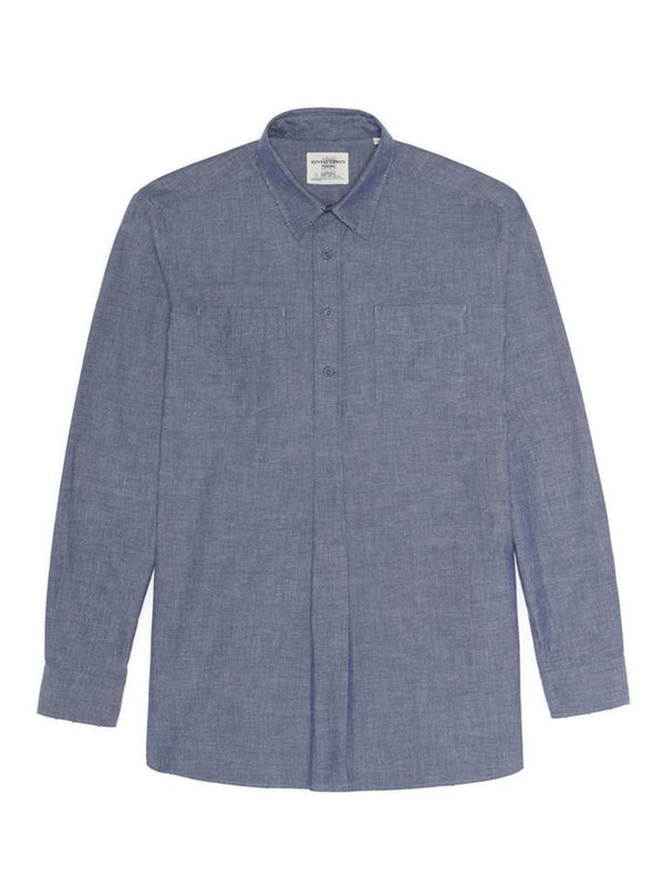 Cotton Melange Frayed Half Button-up Shirt