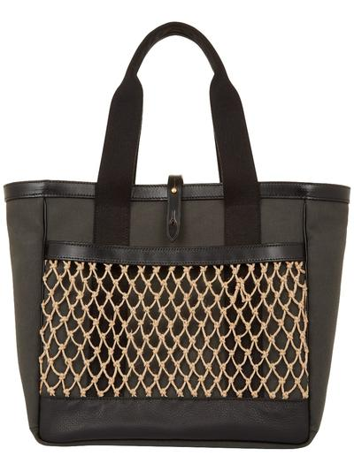 Netted Canvas And Leather Tote