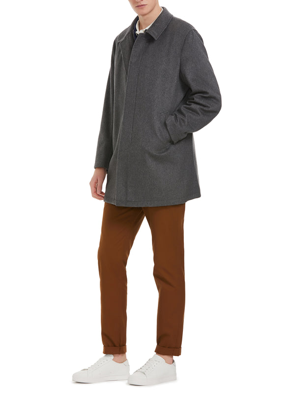 Concealed Placket Single-Breasted Coat
