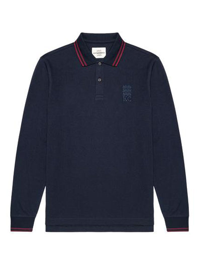 Contrast Lining Long-sleeve Polo