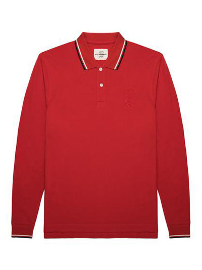 Two-tone Lining Long-sleeve Polo