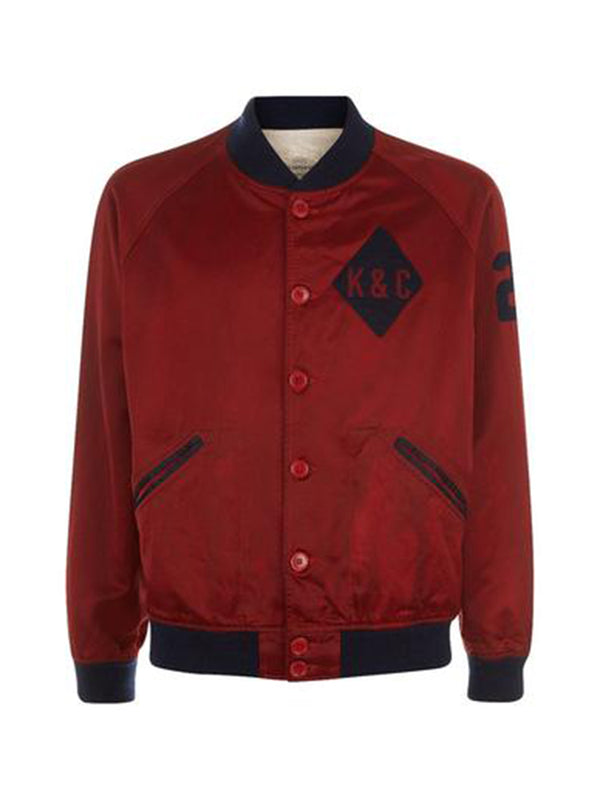 Badged Red Sateen Bomber