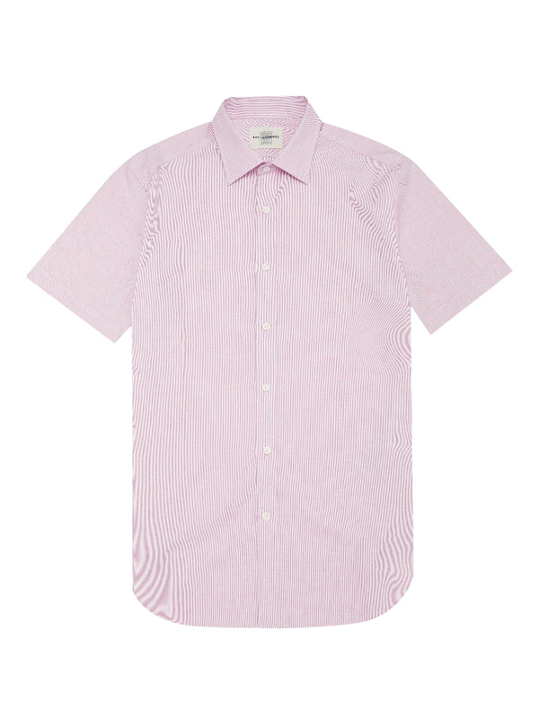 Cotton Twill Striped Short-sleeve Shirt