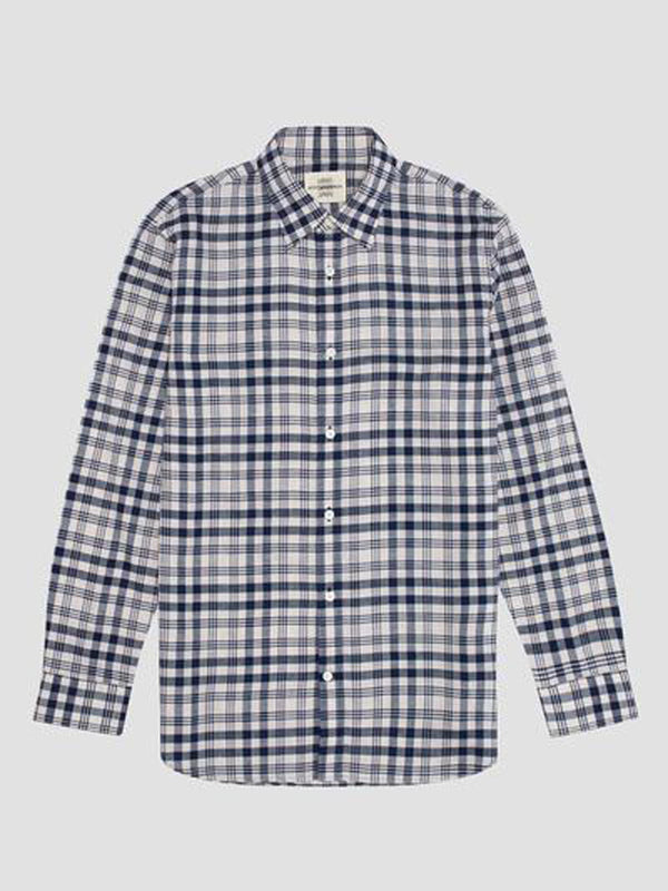 Cotton Linen Blend Plaid Button-up