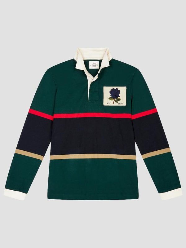 New 1926 Rose Embroidered Striped Rugby