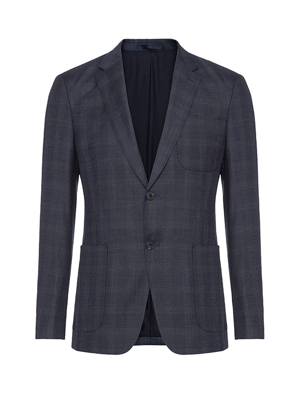 Faded Check Single-Breasted Blazer