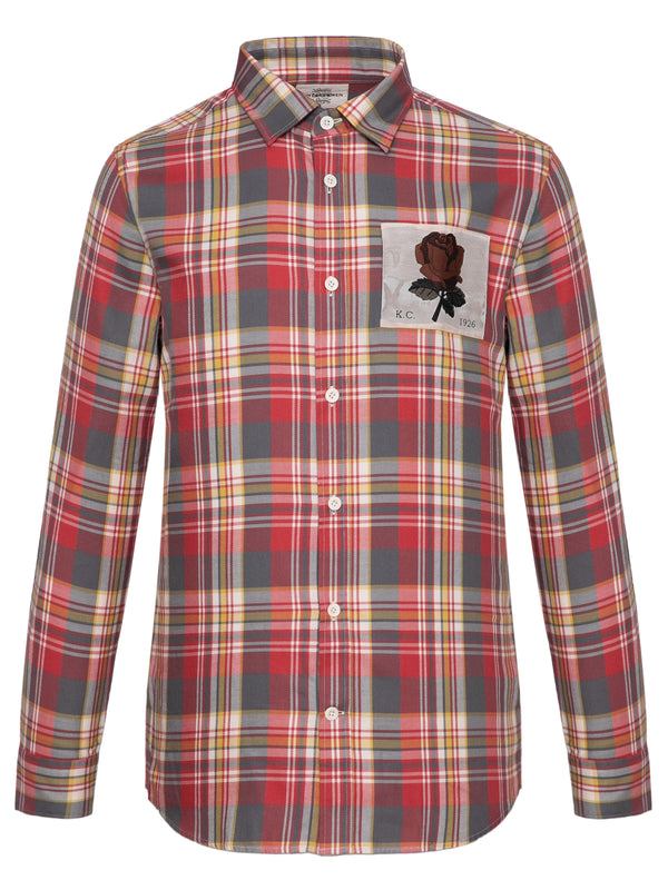 Plaid Rose Patch Shirt