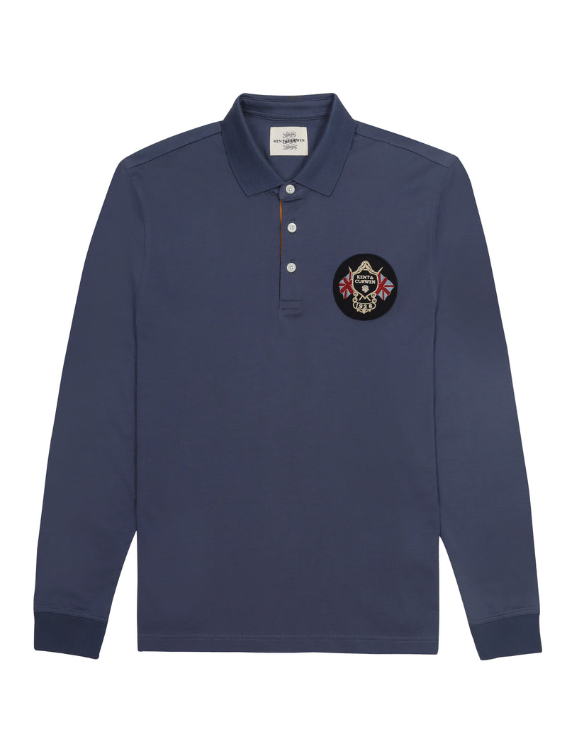 Long-Sleeved Polo Top With Logo Patch