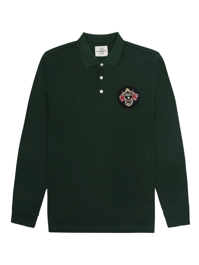 Logo Crest Long-Sleeve Polo Shirt