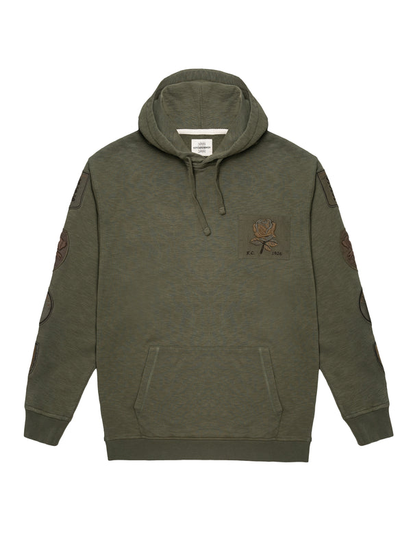 Embroidered Rose patch hoodie