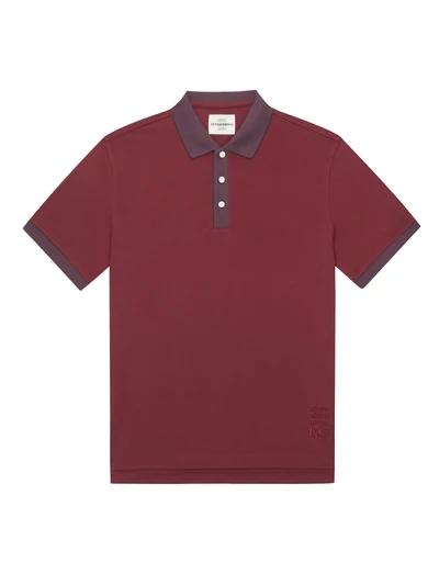 Red Cotton Contrasting Collar Polo Shirt