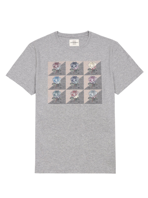 Grey Rose Print T-Shirt