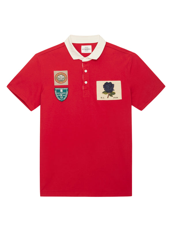Red short sleeve rose rugby