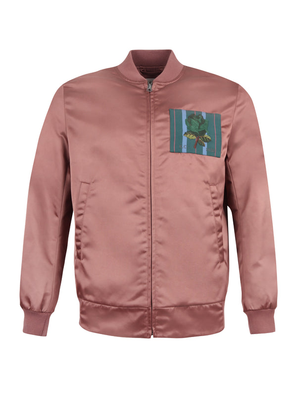 Rose Motif Bomber Jacket