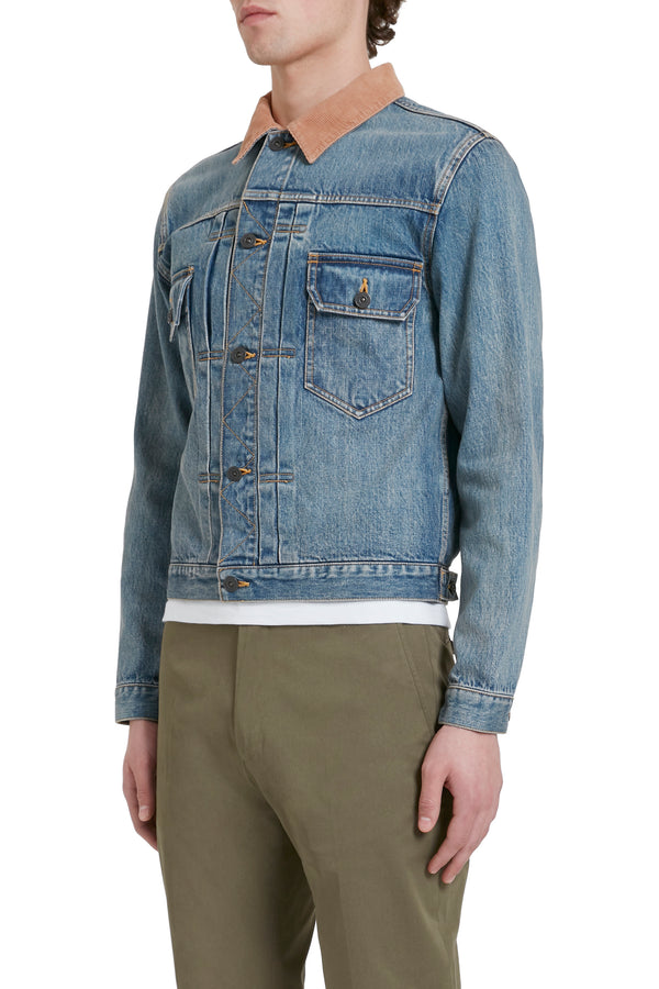 Corduroy Collar Vintage Denim Jacket