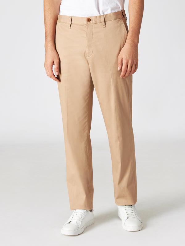 Cotton Blend Tapered Trousers