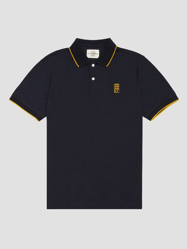 Cotton Pique Striped Lining Three Lions Polo