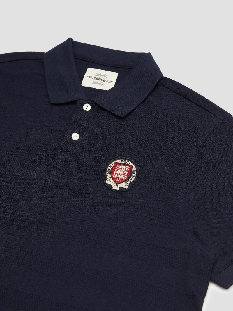 Three Lions Crest Patch Raised Stripe Polo