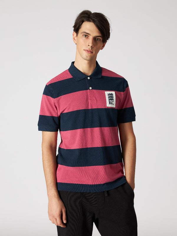 Three Lions Patch Striped Polo