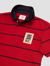 Three Lions Patch Royal Striped Polo