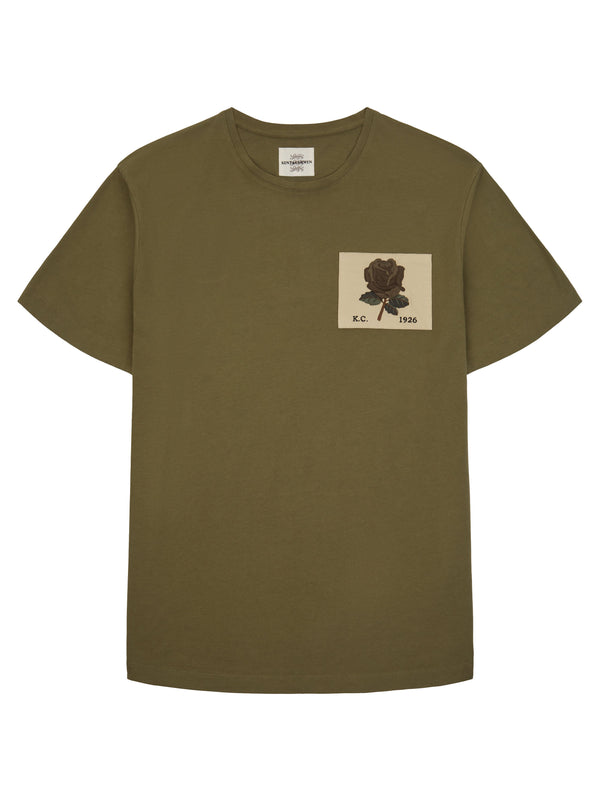 Rose Embroidered Olive T-Shirt