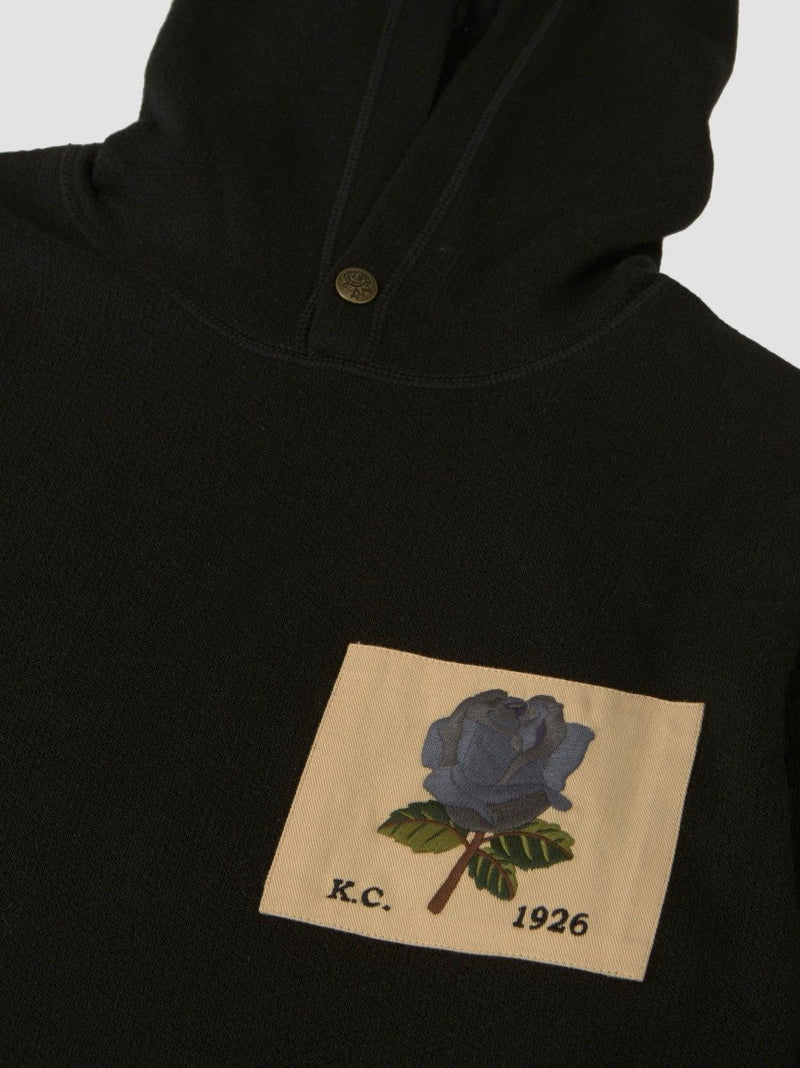 Wool Blend Rose Patch Hoodie