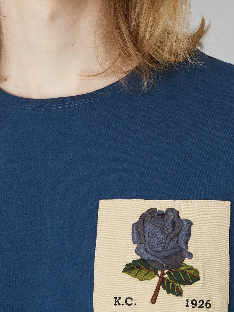 Rose Embroidered Blue T-Shirt