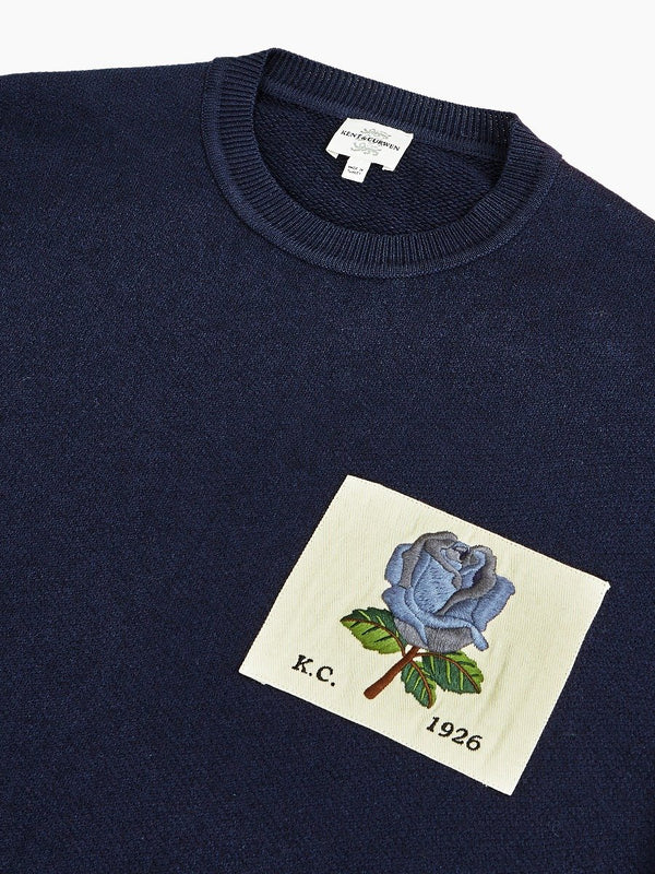 Rose Embroidered Wool Blend Crewneck