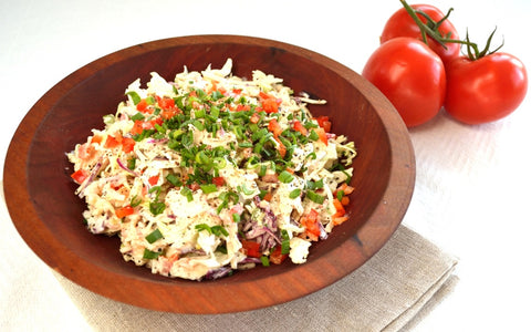 homemade coleslaw salad dressing served in wood bowl