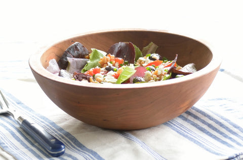Farro Salad Recipe in Wood Salad Bowl