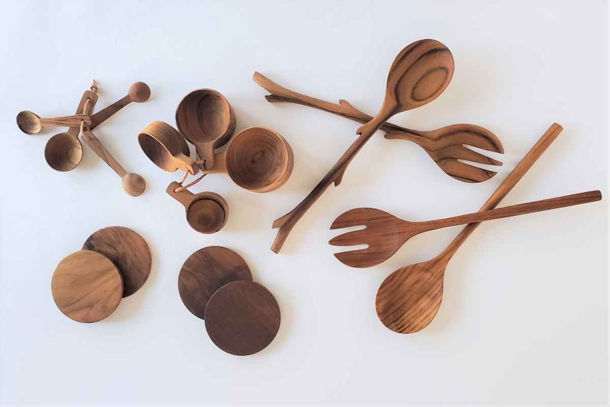 Teak wood 12inch long 2pc Eco Friendly Wooden Serving Spoon cooking spoon