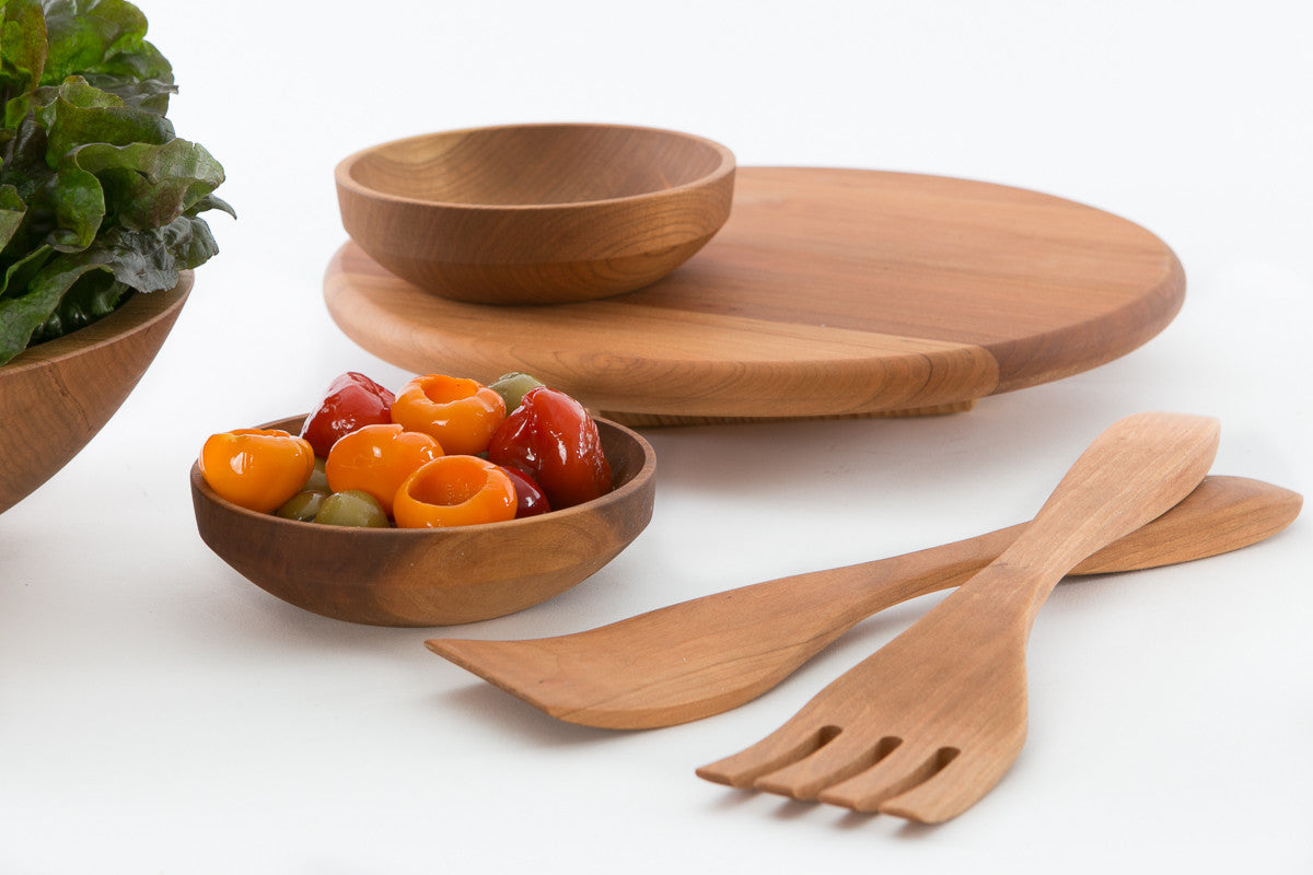 Handmade Wooden Salad Servers For 12 And 15 Bowls