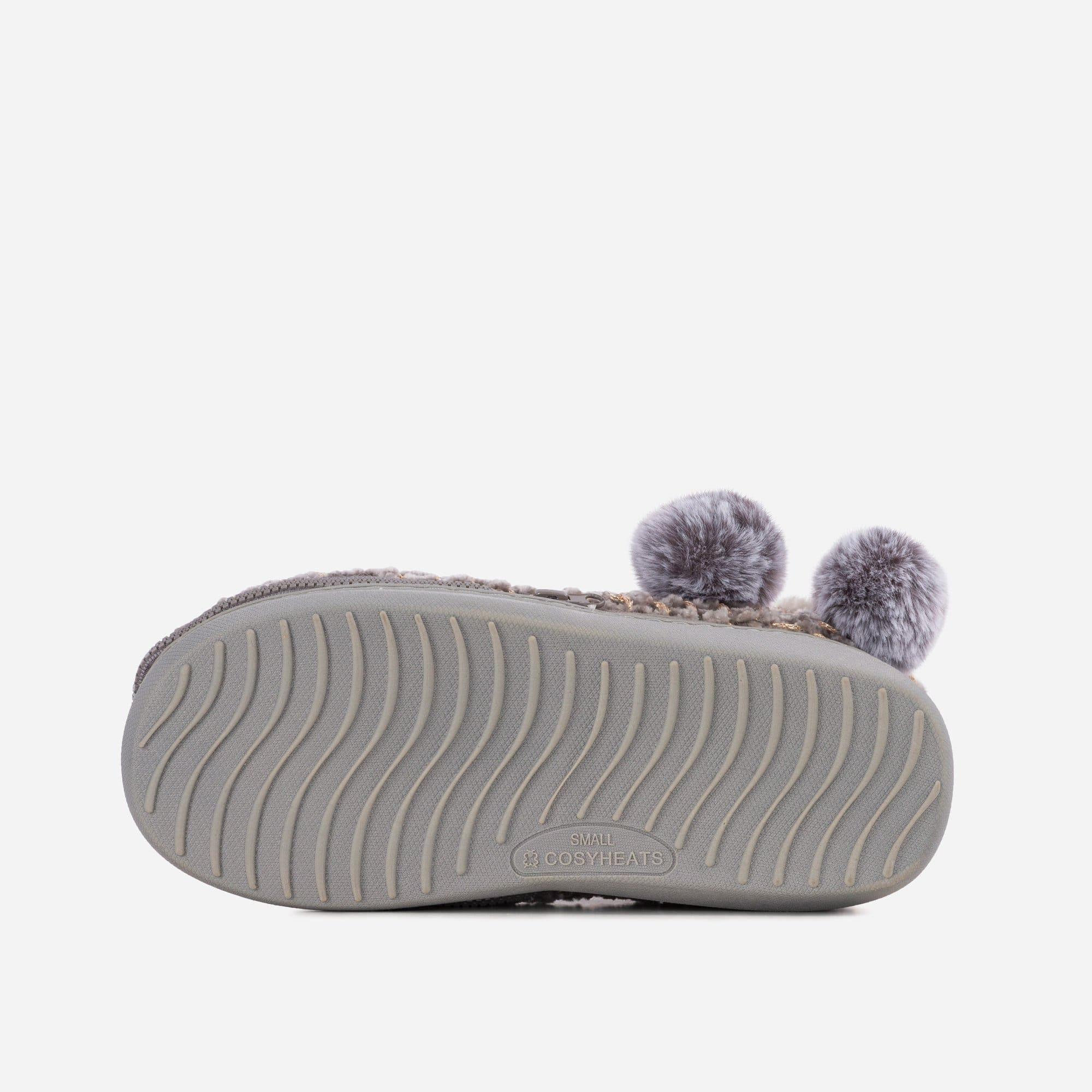 Cosyheats Footwear LADIES COSYHEATS GREY CHENIELLE SLIPPER BOOTIE