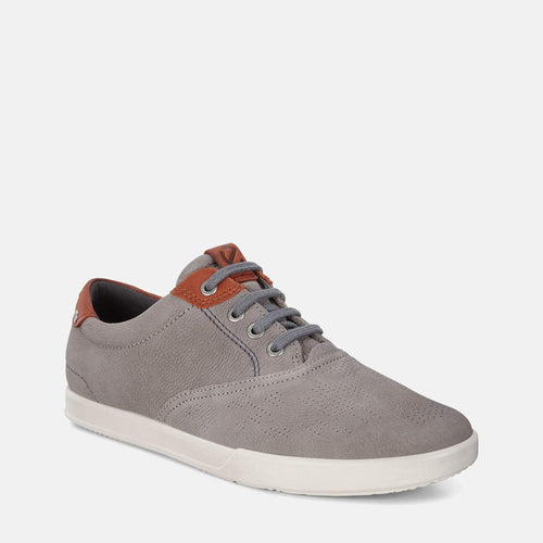 Collin 2.0 536224 58267 Warm Grey/Cognac -  Ecco Men's Grey Loafer Trainer Style Leather Shoes
