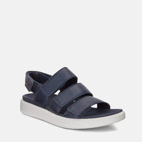 Flowt W 273633 01038 Marine - Ecco Ladies Navy Blue Soft Leather Sandals with Velcro Fastening