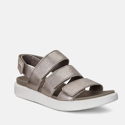Flowt W 273633 54893 Warm Grey Metallic - Ecco Ladies Silver Soft Leather Velcro Fastening Sandals