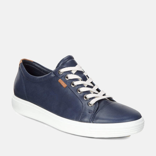 Soft 7 W 430003 01038 Marine - Ecco Navy Blue Soft Leather Ladies Trainers