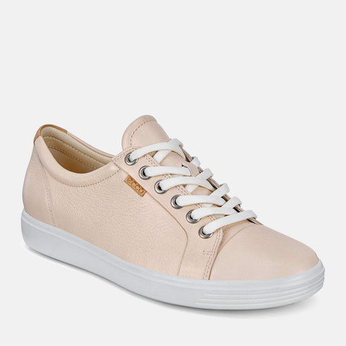 Soft 7 W 430003 51381 Vanilla Metallic - Ecco Cream Soft Leather Ladies Trainers
