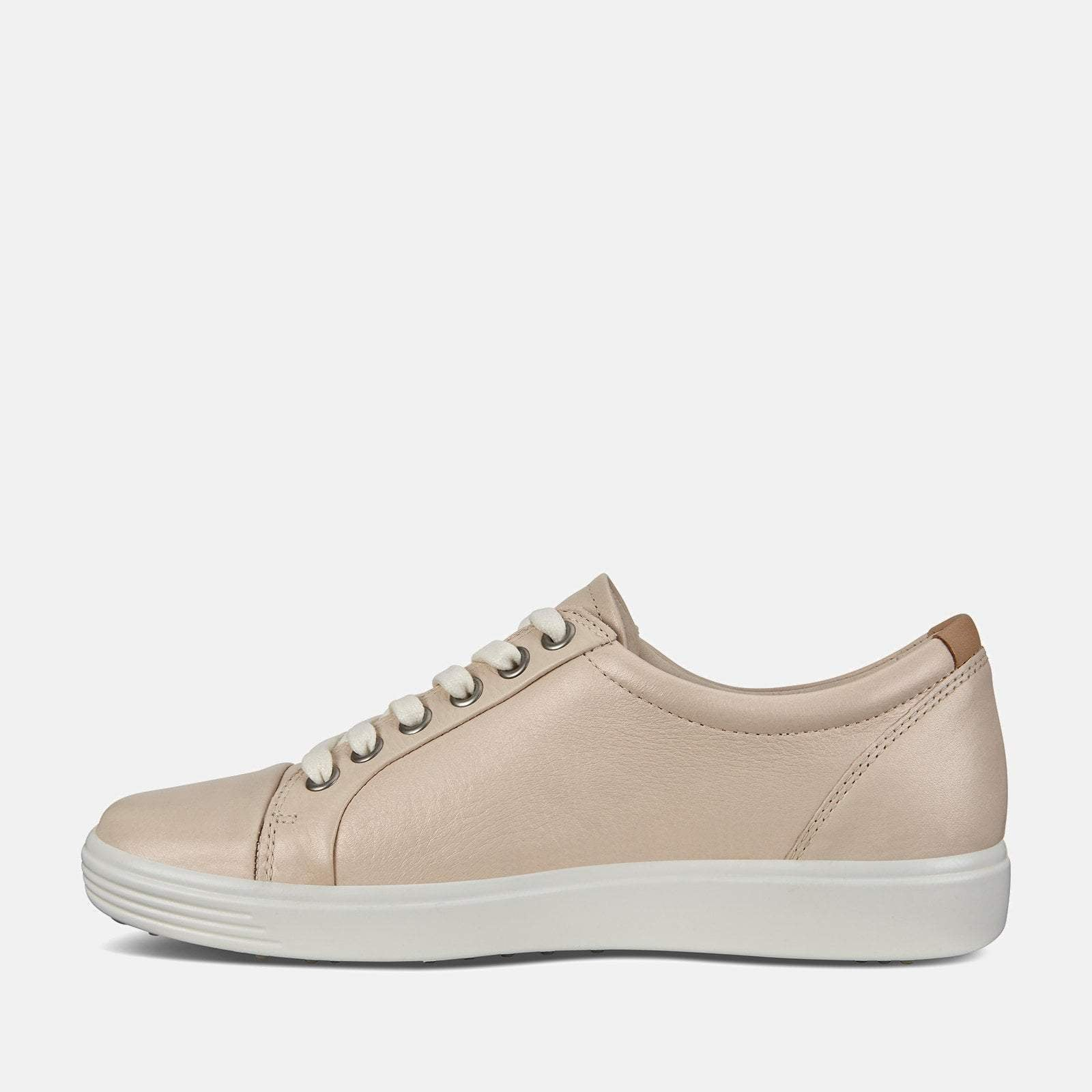 Ecco Footwear Soft 7 W 430003 51381 Vanilla Metallic - Ecco Cream Soft Leather Ladies Trainers