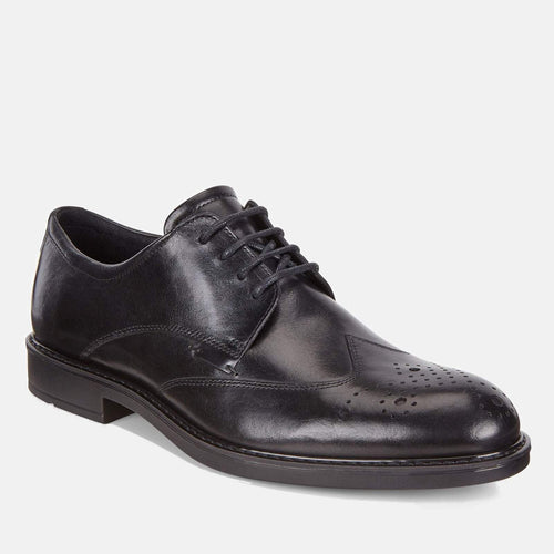 Vitrus III 640524 01001 Black - Ecco Men's Brogue/Derby Formal Lace Up Black Leather Shoes