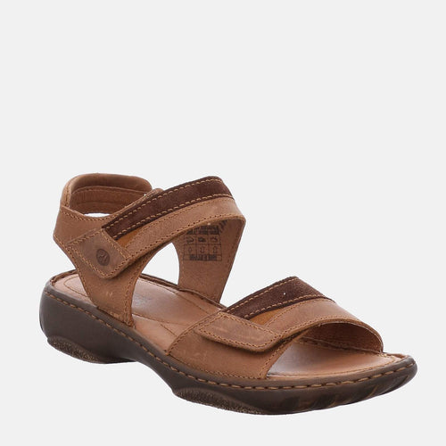 Debra 19 Castagne Kombi - Josef Seibel Brown Tan Velcro Ladies Sandal