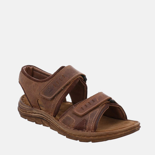 Josef Seibel Raul 19 Castagne/Brasil  Brown Tan Leather Velcro Sandal