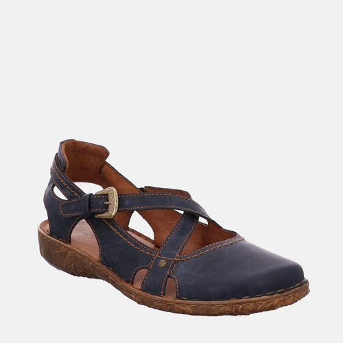 Rosalie 13 Ocean- Josef Seibel  Navy Blue Leather Crossover Strap Ladies Sandal