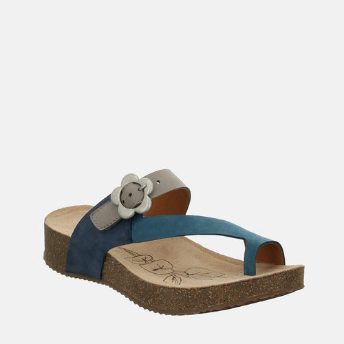 Tonga 23 Blau-Multi - Josef Seibel  Blue Leather Toe Post Ladies Sandal