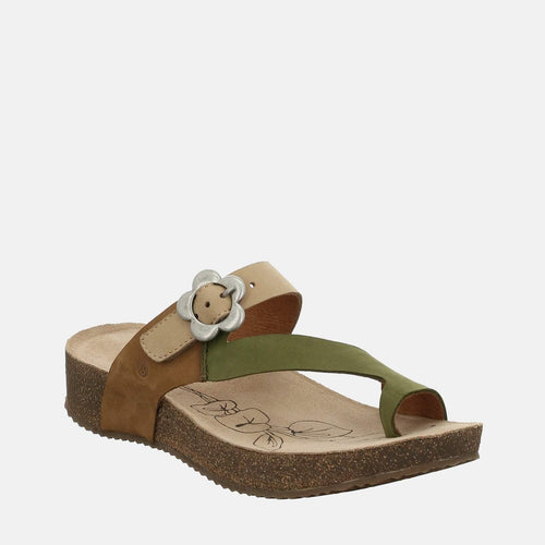 Tonga 23 Oliv-Multi - Josef Seibel  Green Leather Toe Post Ladies Sandal