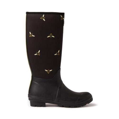 Neoprene Printed Welly Black Metallic Bees
