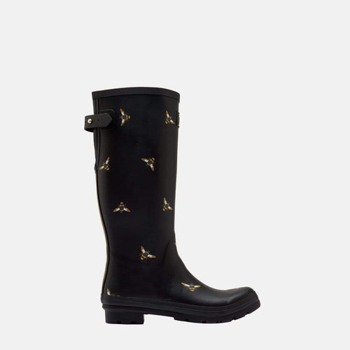 Welly Print Black Metallic Bees